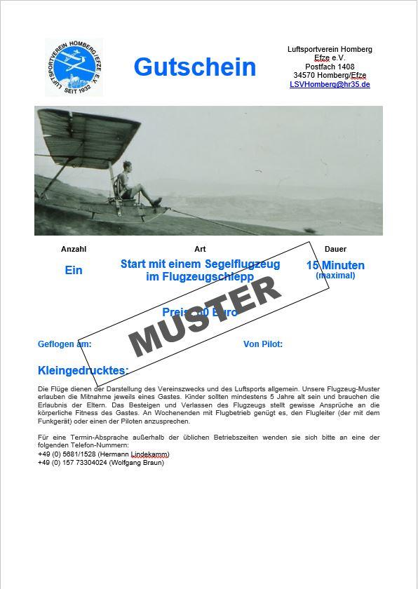 Gutschein Gastflug Segelflug F-Schlepp 15 Minuten