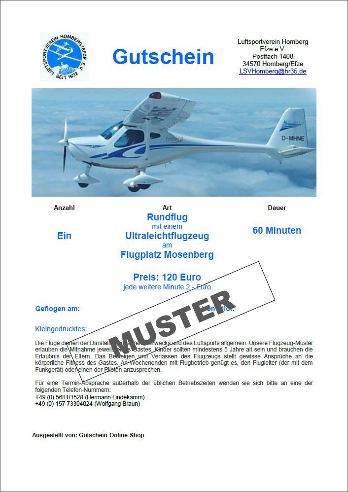 Gutschein Gastflug Ultraleicht 60 Minuten