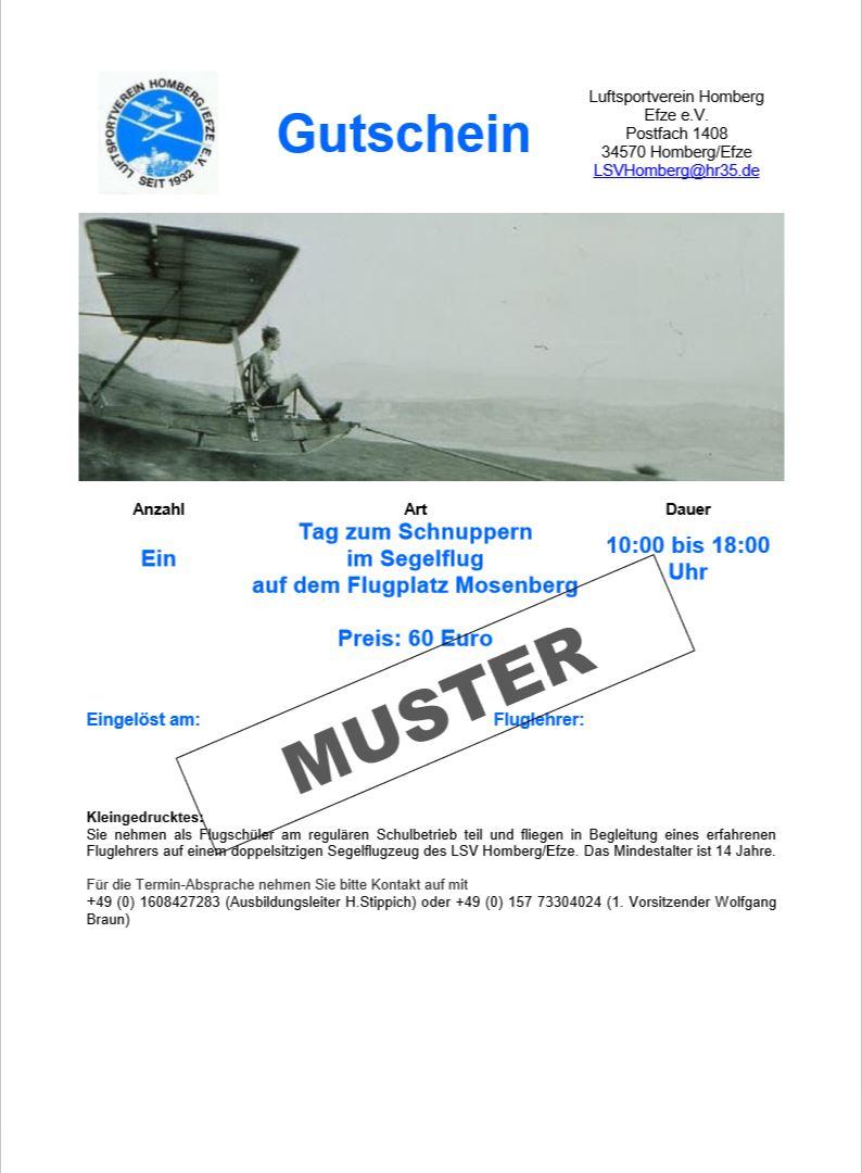 Gutschein Schnupper-Tag Segelflug für Erwachsene