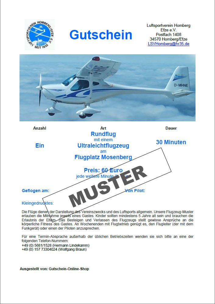 Gutschein Mitflug Ultraleicht 30 Minuten